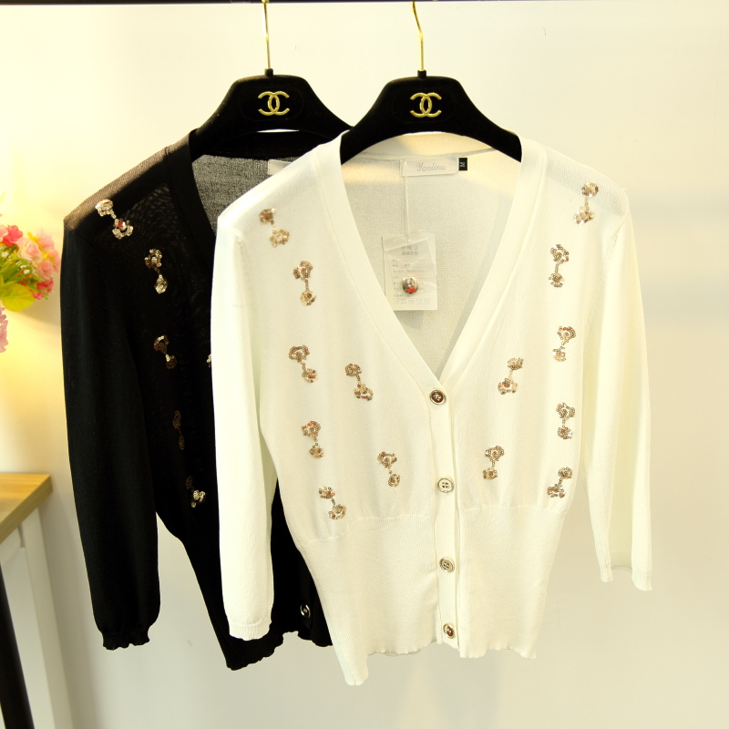 cultivate morality show thin 7 minutes of sleeve ice silk of tall waist thin sweater cardigan women cultivate morality