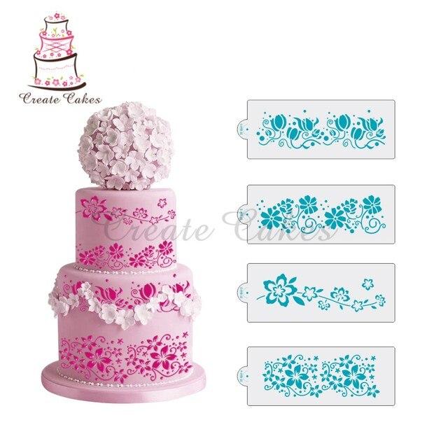 4Pcs Flower Vines Stencil Cake Decorating Wedding Plastic Template For ST