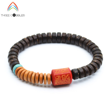 8x4mm Wholesale Natural Coconut Shell Beaded Olive nucleus space bead Stretch Bracelet Tibetan Buddhism Prayer Beads Jewelry  buddhist rope bracelet