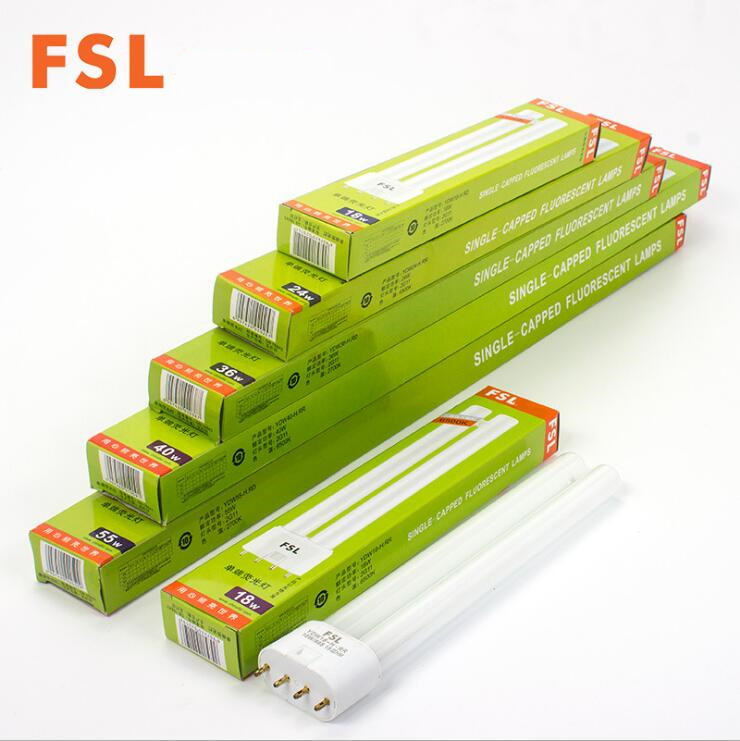 4-pack Rare Earth Trichromatic Linear Twin Tube Energy Saving Fluorescent Light Tube Flat 4-pin 18W 24W 36W 40W 55W Available