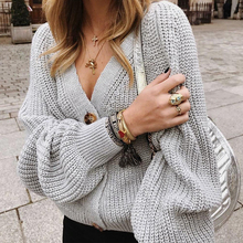 Women Sexy Puff Sleeve Cardigans Autumn Winter V Neck Button Knitted Sweaters