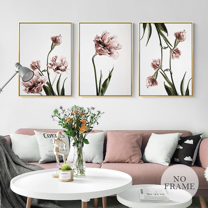 Romantic Nordic Flowers Poster Canvas Painting Wall Art Pictures For Lving Room HD Posters And Prints Pink Green Home Decorative w365 elephants unframed art wall canvas prints for home decorations