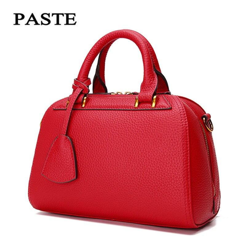 Paste 2017 Women Cowhide Shoulder Bag leather Handbags Genuine leather women Bags Luxury Fashion style cowskin bag P0511A