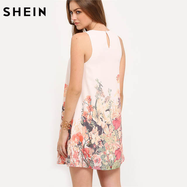 9ab8953abe placeholder SHEIN Ladies Multicolor Sleeveless Flower Print Boho Dresses  New Arrival Womens Summer Round Neck Cut Out