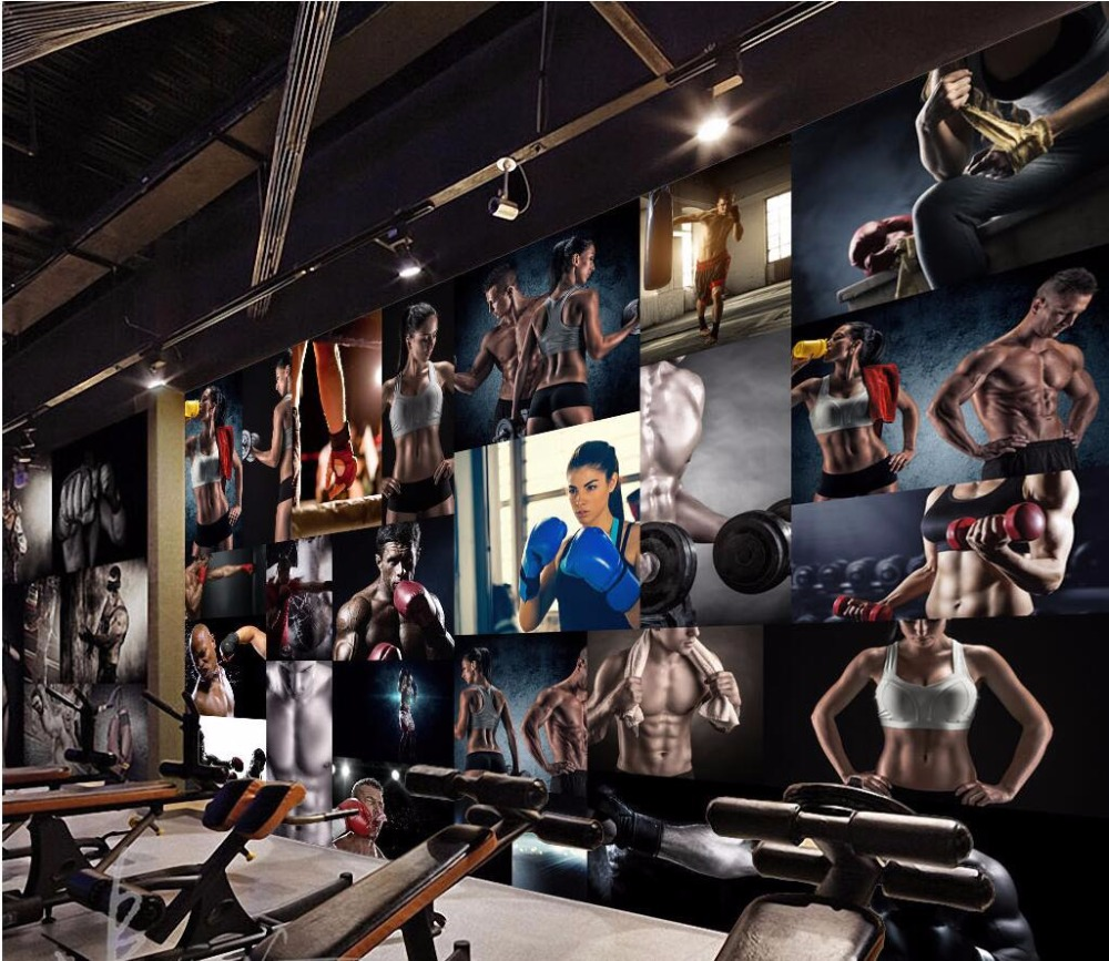 Custom mural d wallpaper photo room boxing bodybuilding