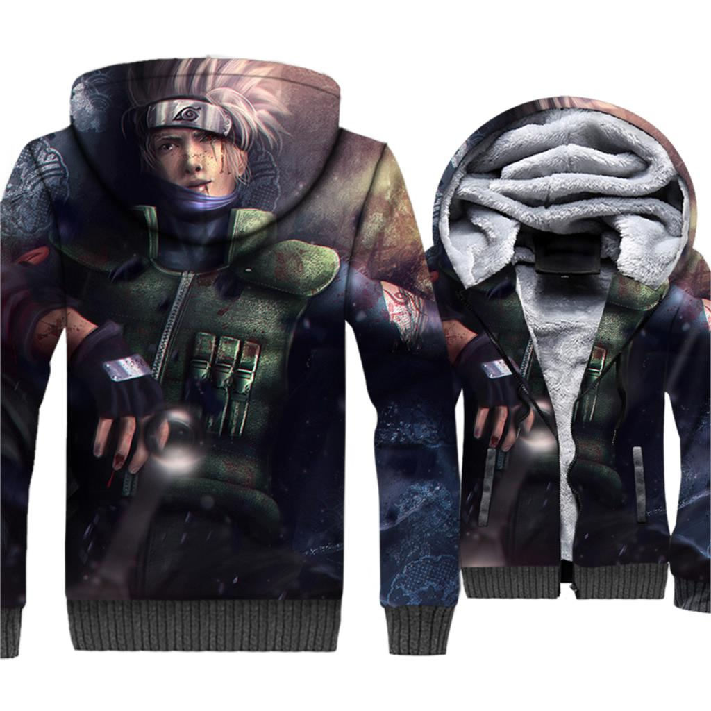 NARUTO Casual Winter Fleece Warm Male Sportswear 2019 Fashion New Brand Oversize Thick Jacket Men's 3d Hoodie Streetwwear Coats