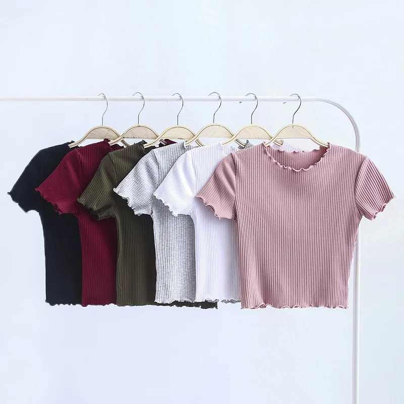 Vintage Wood ears O neck Short sleeve T-shirt 2017 New Woman Slim Fit t shirt tight tee Summer Retro Tops 6 colors
