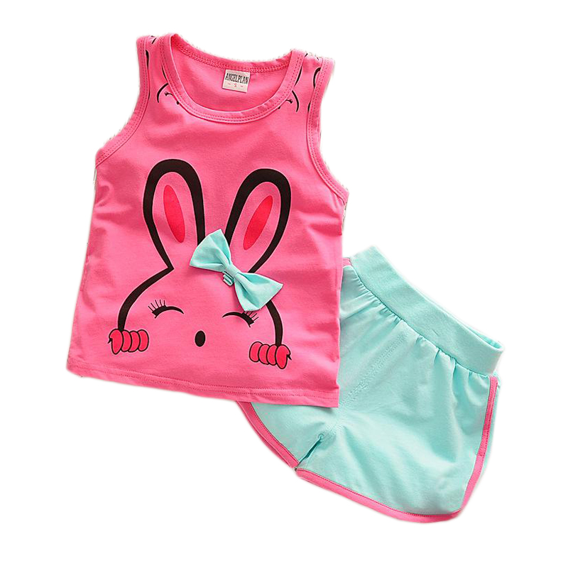 1 2 3 4 Year Girls Clothes Summer Style Rabbit Vest Shorts 2pcs Cotton Children Clothing Set Casual Kids Suits for Girls