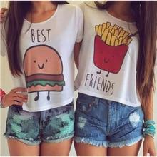 E186 New Casual Crop Tops Women 2017 Summer Round Neck Best Friends Print T Shirts Fashion Short Sleeve Printed Shirt Female