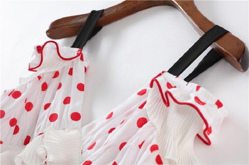 Robe Parti Boho Tunique Piste Plissée Profonde Blanc Volants Points Cou 2018 D'été Robes Rouge Longue Midi V Sexy dX614ww