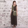 Oversized 2016 Summer ZANZEA Women Casual Loose Vintage Dress Sexy Sleeveless Splice Cotton Linen Long Dress Vestidos Plus Size