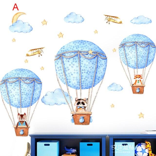 Stickers muraux auto-adhésifs   Autocollant Animal de dessin animé, ballon à Air chaud, pour chambre denfant, stickers muraux pour chambre à coucher