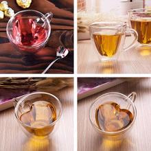 180 ml en forma de corazón de capa doble pared de vidrio transparente taza de té taza regalo