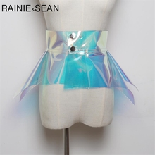 RAINIE SEAN Waist Belt Cummerbund For Women PVC Transparent Ruffle Colorful Designer Fashion Female Belts 2019 New Arrival