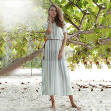 Cuerly 2019 Summer Women Striped Boho Dress Sexy V-neck Beach Long Dress Causal Short Sleeve Tassel Maxi Dresses Vestidos L8