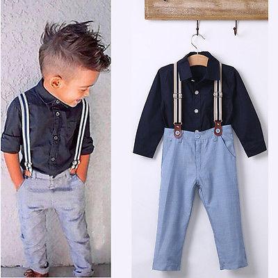 Trajes establece 3 unids bebé niño de manga larga camiseta tirantes pantalón ropa slim Fit(
