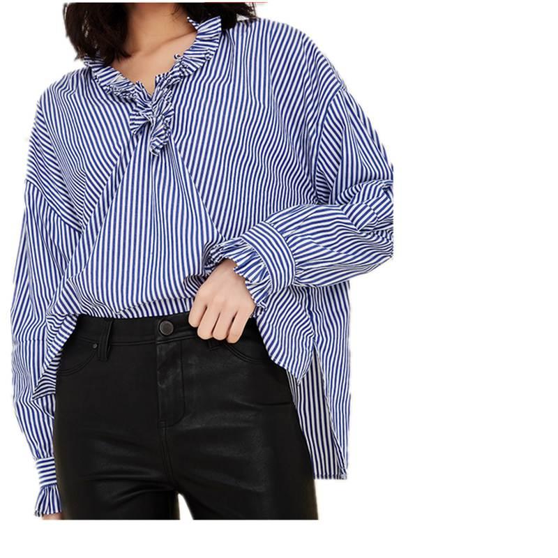 49259576cc3c03 stripes blouse shirt women ruffles tops lantern sleeve oversized 2019  spring new high quality 95%