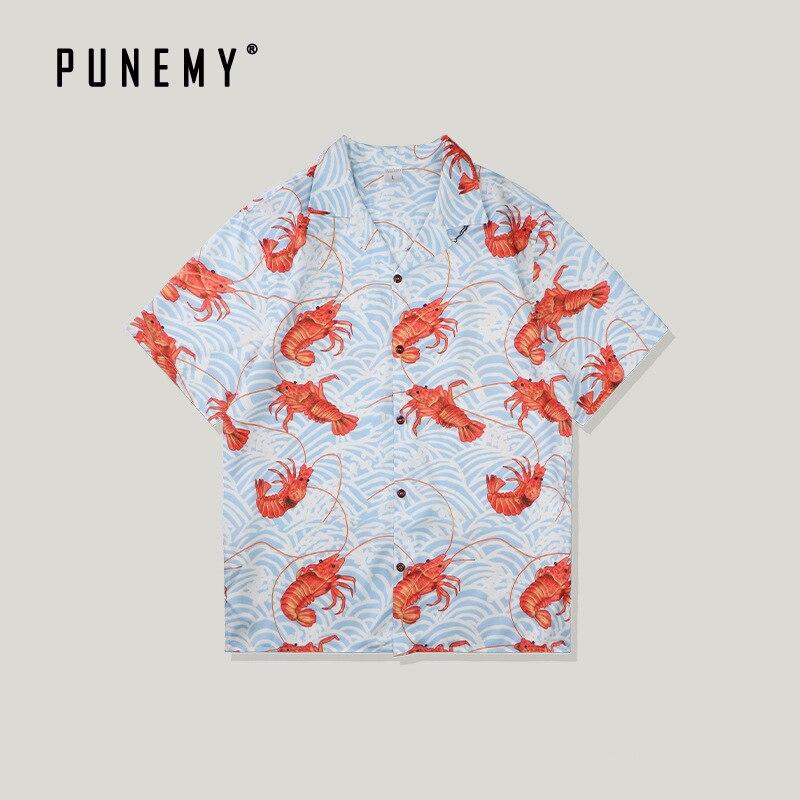 Funny Full Lobster Print Hawaii Aloha Shirts Men Summer Beach Top Tees Vintage Shirt Casual Harajuku Hip Hop Male Shirts