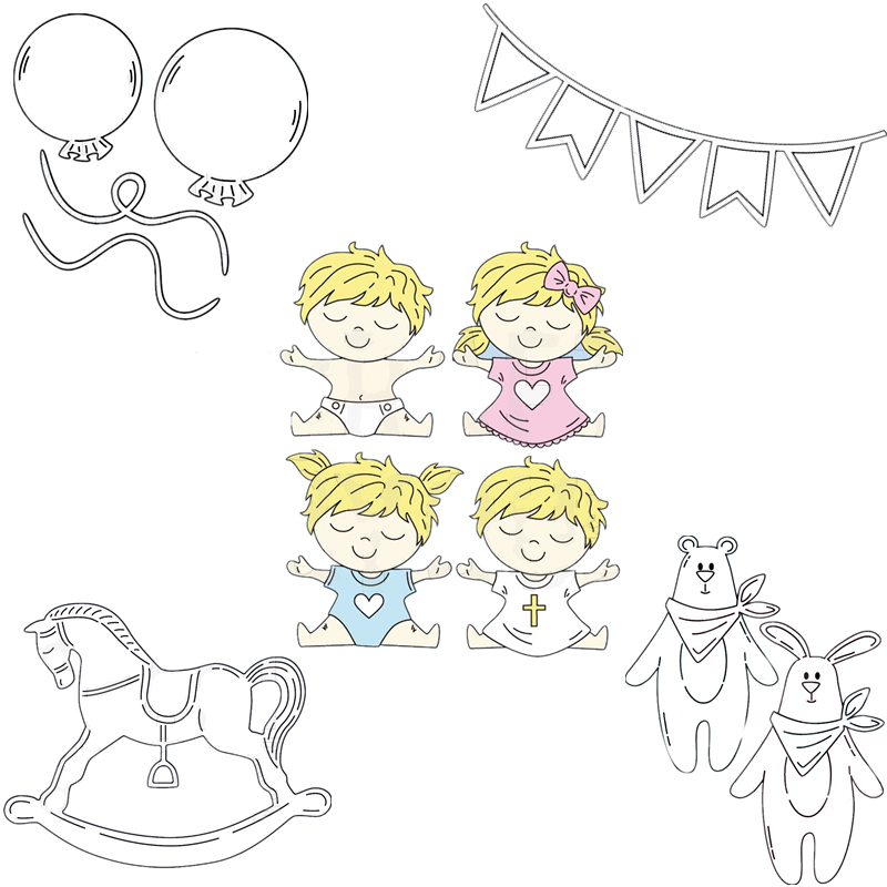 Happy Birthday Baby Rocking <font><b>Horse</b></font> <font><b>Metal</b></font> Cutting Dies for Scrapbooking DIY Photo Album Card Making Decorative Stencil New 2019 image