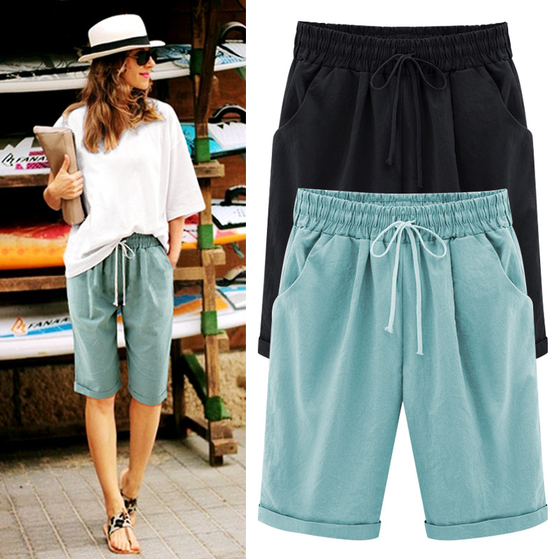 Shorts   Women Hot Summer Drawstring Waistband Chino   Shorts   Pantalones Cortos Mujer   Short   Femme Plus Size M-6XL Bermuda Feminina