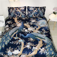 peacock bedding sets queen size adult 3D duvet cover colorful flower bed linens blue bed clothes home decor couple 3pcs