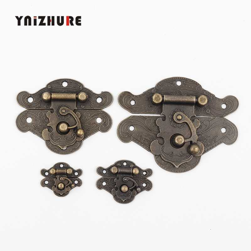 YNIZHURE Antique Suitcase Chest Retro Vintage Decorative Latch Wooden Wine Jewelry Box Hasp Pad Chest Lock