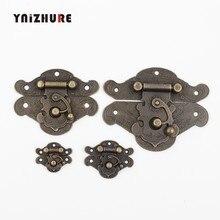 YNIZHURE Antique Suitcase Chest Retro Vintage Decorative Latch Wooden Wine Jewelry Box Hasp Pad Chest Lock(China)