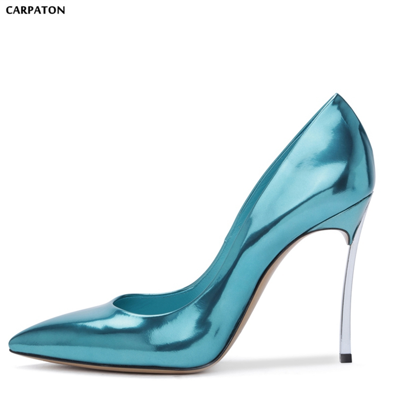 Carpaton 2018 Newest Patent Leather Sexy Women Wedding Shoes Classic Style Pointed Toe Shallow Thin High Heels Women Shoes 2018the new women s patent leather and shoes classic korean version of the classic korean shoes red wedding shoes