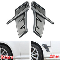 2Pcs/set ABS Carbon Fiber Car Accessories For Audi RS A3 A4L A6L A5 Q3 Q5 Q7 Car Fender Side Wing Stickers Air Vent Cover Trim