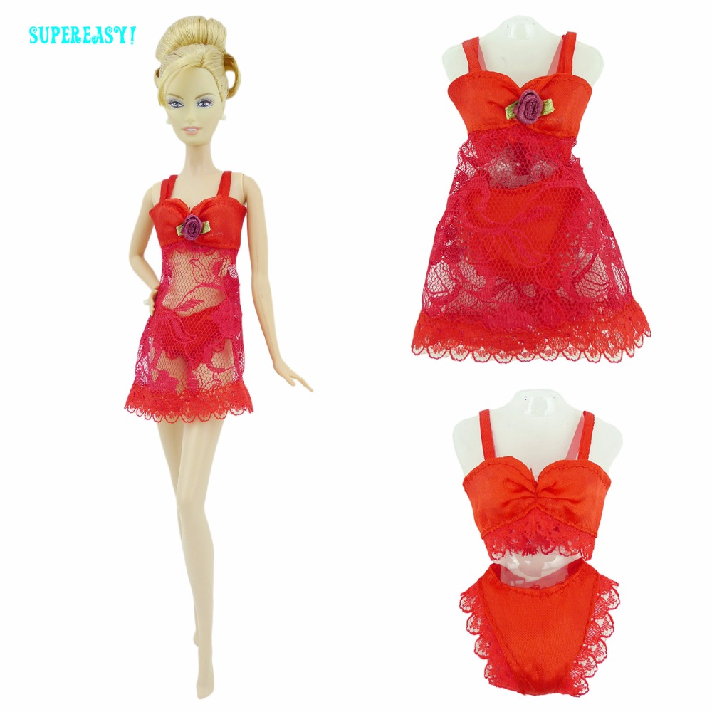 Free Shipping  Red  Sexy Pajamas Lingerie Nightwear Lace Night Dress + Bra + Underwear Clothes For Barbie Doll Skirt Clothes