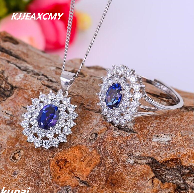 KJJEAXCMY Fine jewelry, Ladies jewelry set color jewelry 925 silver inlay Tanzania color Topaz suit female models