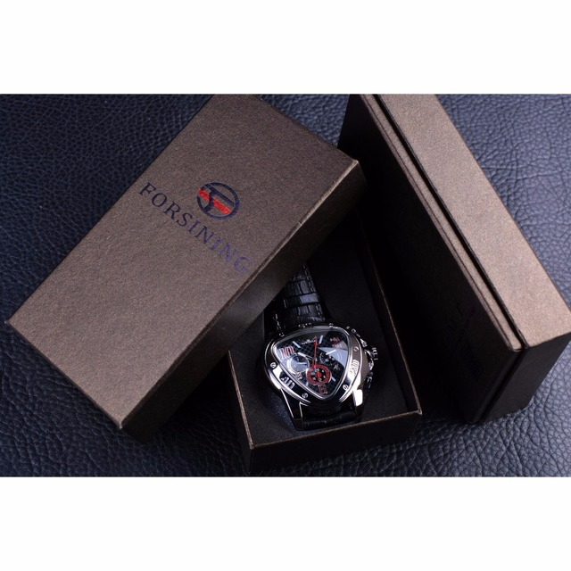 Jaragar Men's Sport Racing Geometric Triangle Design Automatic Watches 5