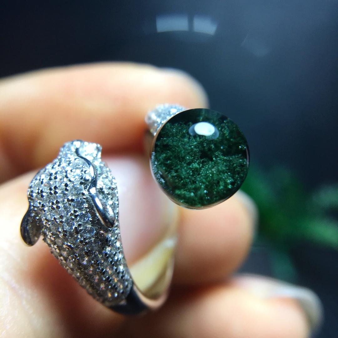 7.7mm Natural Green Phantom Stone Ring Quartz Crystal Adjustable Ring Leopard shape 925 Silver for Woman Man Gift AAAAA Stone7.7mm Natural Green Phantom Stone Ring Quartz Crystal Adjustable Ring Leopard shape 925 Silver for Woman Man Gift AAAAA Stone