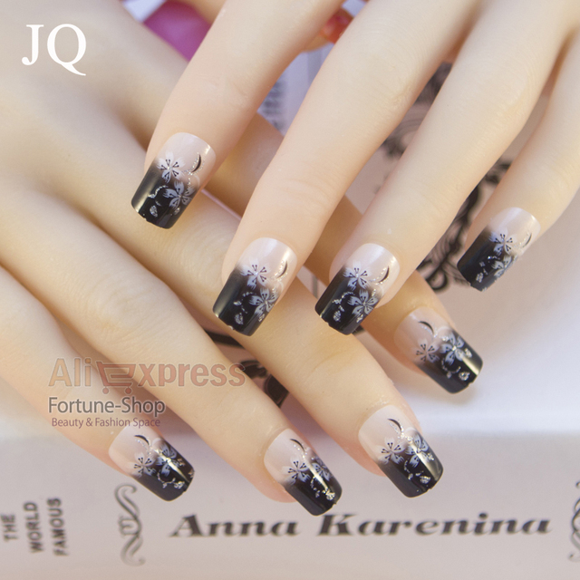 JQ 24 Pcs Senior Bride Wedding Fake Nails Normal Length French Manicure Patch Full Nail Art
