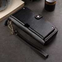 Genuine Cow Leather Wallet Finger Ring Belt Strap Mobile Phone Case Pouch For Motorola One Power P30 Note/p30 Play,oppo A3s F7