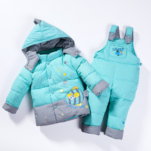 Children Winter Overalls for Boys Clothing Set Kids Snowsuit Duck Down Jacket+Bib Pants Toddler Hooded Coats Girls 1-3 Years