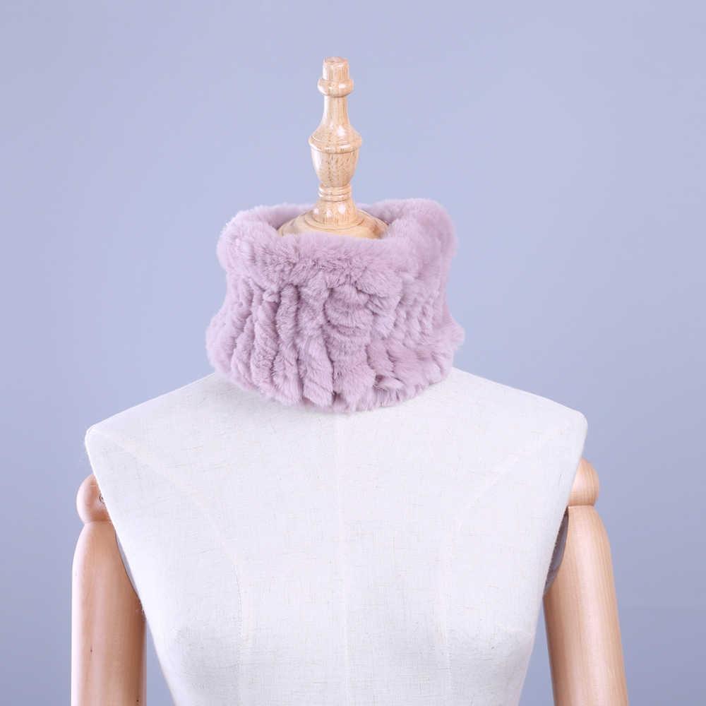Nuevo Invierno para mujer auténtico Rex Real piel de conejo capucha círculo Snood elástico piel bufanda bufandas anillo diadema cuello más caliente