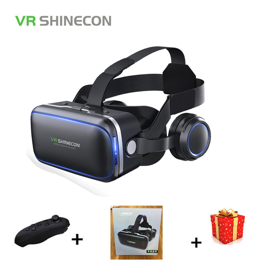 Casque Stereo Shinecon VR Box Virtual Reality Glasses 3 D 3d Goggles Headset Helmet For Smartphone Smart Phone Cardboard Google hot 2018 original shinecon vr google cardboard vr box with headphone vr virtual reality 3d glasses for 4 7 6 0 inch phone