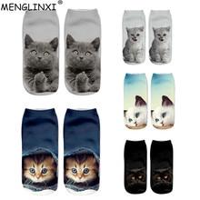 Новинка,, женские носки с 3D принтом, брендовый носок, модные рождественские носки унисекс, женские забавные короткие Носки с рисунком кота, распродажа