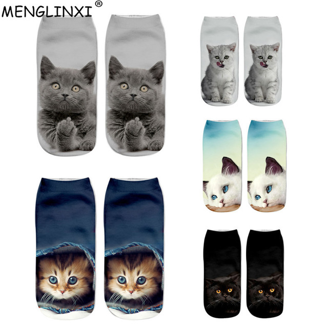 New HOT 3D Printing Women Socks Brand Sock Fashion Unisex Christmas Socks Cat Meias Female Funny Low Ankle Femme Sock Sale