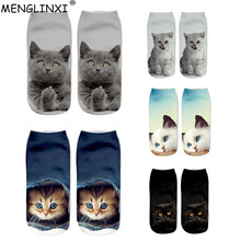 2017 New HOT 3D Printing Women Socks Brand Sock Fashion Unisex Cat Pattern Meias Female Funny Low Ankle Femme Sale