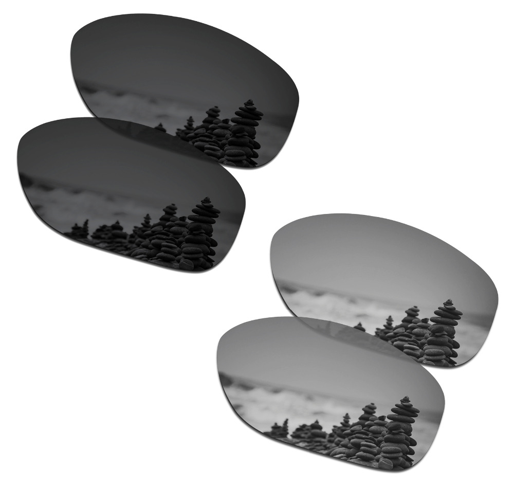 SmartVLT 2 Pairs Polarized Sunglasses Replacement Lenses for Oakley Pit Bull Stealth Black and Silver Titanium