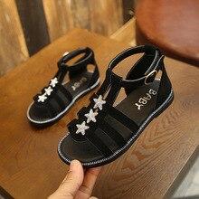 New Summer Kids Sandals For Girls Party Shoes Children Beach Big Girls Open Toe Flat Rhinestone Sandals Fashion Comfortable