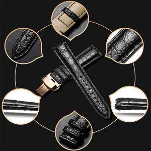 Image 4 - High end Crocodile Alligator Leather Watch Band Strap Replacement Deployment Double Push Buckle for Luxury Watches 20 22 24mm