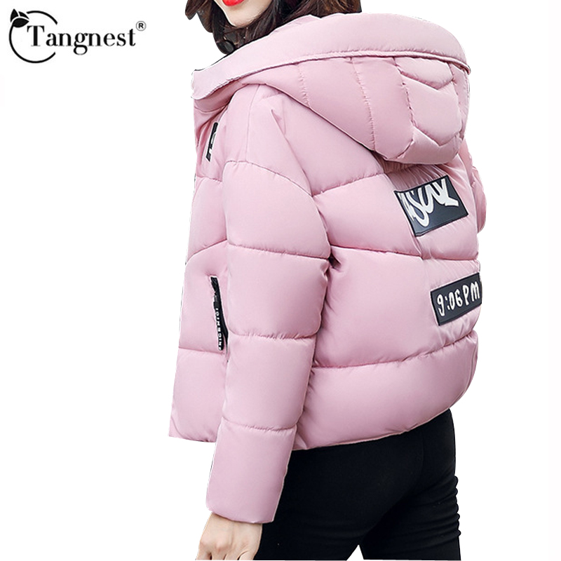 New Arrival Over Size Six Colors Autumn Winter Padded Coat Women Contrast short Cotton Warm Female Coats TANGNEST 2017 WWM1635 new mens colors short sleeve cotton tshirt henry kissinger quote absence