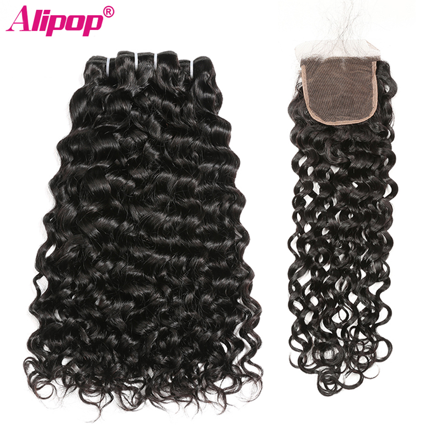 Water Wave Bundles With Closure Peruvian Hair Bundles With Closure Remy Human Hair 3 Bundles With