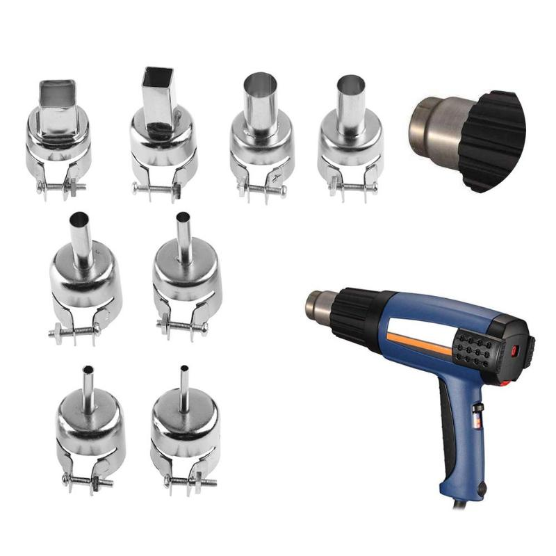 8pcs/set Round Heat Gun Nozzles Welding Heat Resistant Soldering Station Blower Nozzles for 850 Hot Wind Air Gun Stainless Steel