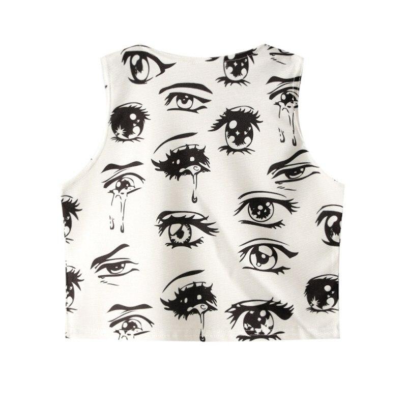 Summer Women Crop   Top   Print Sexy Tight O-Neck Sleeveless Slim Vest   Tank     Tops