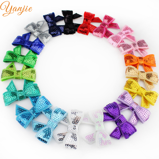 "New Arrival 20colors 100pcs/lot Boutique Knot Applique 1.8"" Sequin Hair Bow Girl Beauty Bows Hair Accessories Headwear Hair Clip"