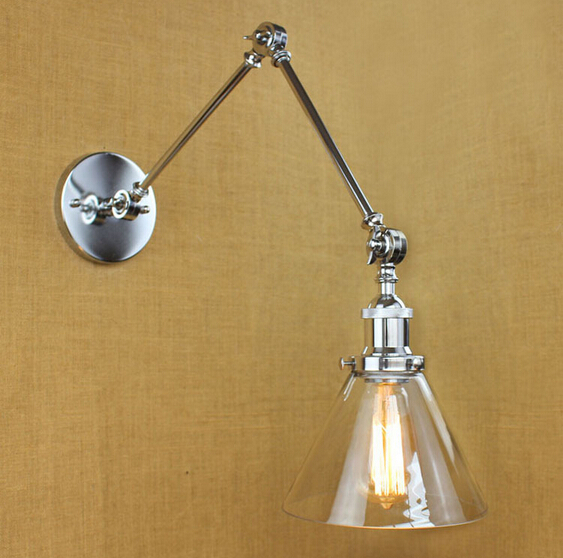 Loft Style Adjustable Glass Plated Edison Industrial Vintage Wall Lamp Fixtures For Bar Cafe Home Indoor Lighting Lampara Pared loft style iron edison wall sconce industrial lamp wheels vintage wall light fixtures antique indoor lighting lampara pared